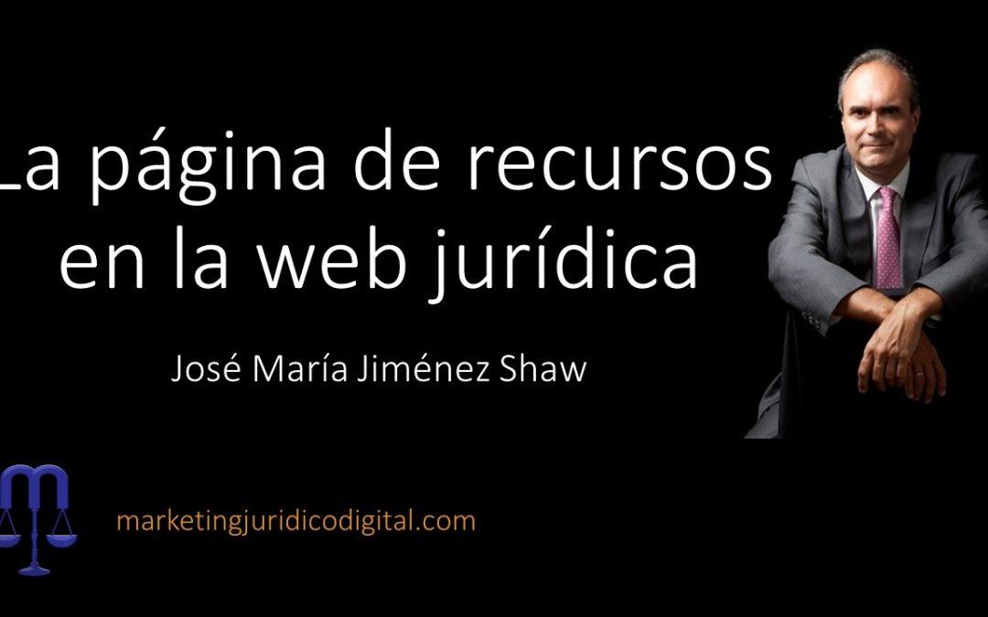 La página de recursos en la web jurídica